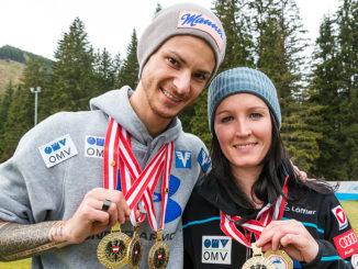 Manuel Fettner und Jacqueline Seifriedsberger holen Gold bei den Österreichischen Meisterschaften auf der Normalschanze. Foto: ÖSV / Kotlaba